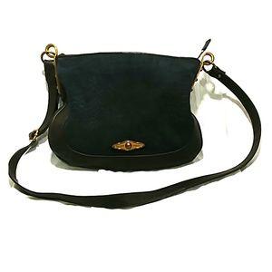 Elliott Lucca leather crossbody purse blue brown